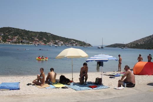 peeble, sandy beach in Vinisce, Croatia