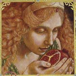 Persephone is tricked into eating the pomegranate seeds, sealing her fate.