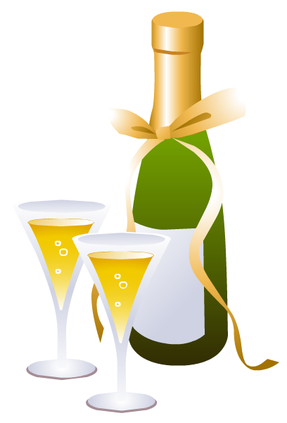 Champagne bottle and glasses clip art