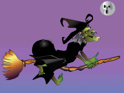 A Wacky Witch Riding Her Broomstick on Halloween Night.