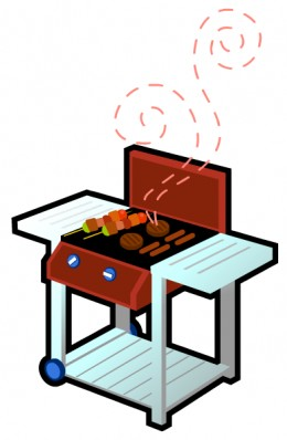 Free food clip art: Brown BBQ grill with hamburgers and hot dogs