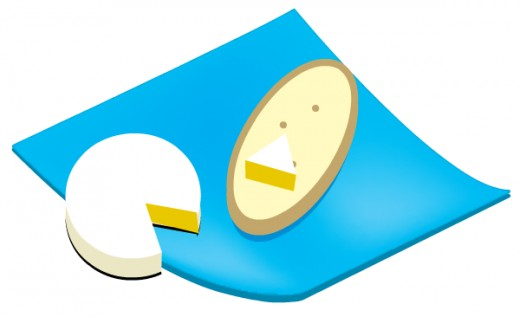 Free food clip art: Brie on a blue napkin