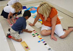 Tulsa Montessori students at work, learning.