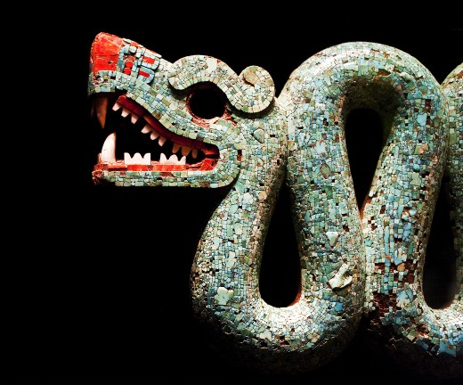 This is a double headed serpent, an ancient piece of art that was recovered from the Aztec civilization. It is currently displayed in a museum in Great Britain.