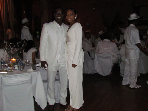 Couples were decked out in their matching white and diamond outfits.