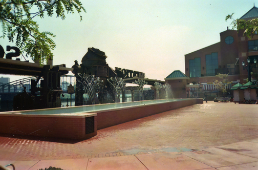 The dancing waters of the fountain at Station Square.