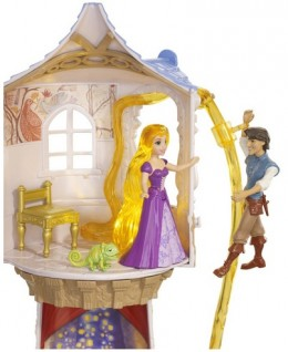 Flynn clims up Rapunzel's glowing hair for hours of fun