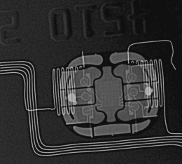 All contemporary debit and credit cards contain RFID chips. and some can complete transactions at a distance with a wave near a reading machine. Some this can be embedded in your hand or forehead.