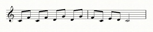 More intervals of a fourth with a driving rhythm