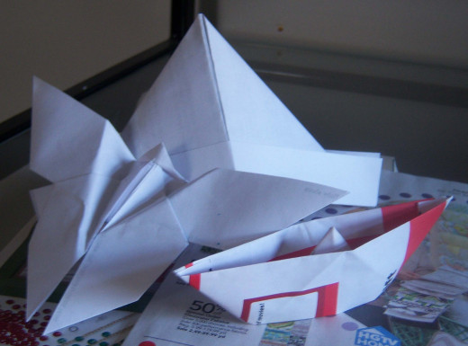 Who knew junk mail could be so pretty? The hat, boat and butterfly were all made out of either junk mail or scrap paper.