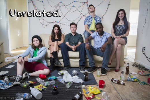 Cast from Left To Right: Melanie Hinkle, Jessica Yuppa, Ryan Stacy, Adam Casner,  Andrew Binger, and Madison Sylvester.