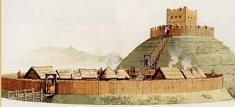 The original wooden castle at York - burnt down in 1068, rebuilt and burnt down again in 1069, to be replaced by a stone castle (here by the Foss) and at Baile Hill (across the Ouse at the end of Skeldergate)