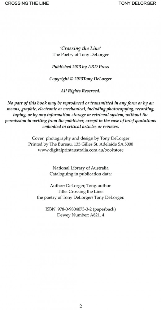 Copyright, ISBN and Dewey number info from Tony DeLorger