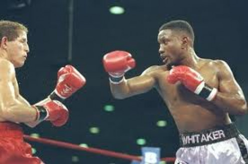 Pernell Whitaker, seen here fighting Jake Rodriguez, was a defensive general.