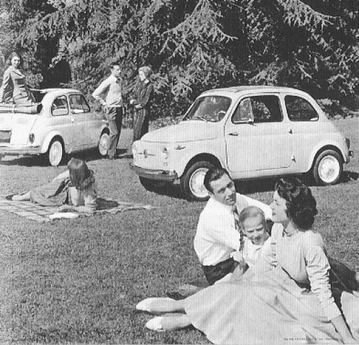 Happy families do a pic nic with their Fiat 500s. This mythical car has contributed to the motorization of Italy in the 1950s and 1960 and is still in the hearts of the Italians.