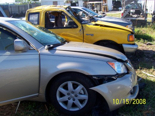 The pick-up truck driver tried to pass traffic over a double yellow line into oncoming traffic (the sedan).  Impact was so great that the truck flipped over 2x; and the driver was ejected through the windshield - no seat belt