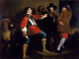 Guy Fawkes found with the incriminating evidence in the undercroft of Westminster Palace