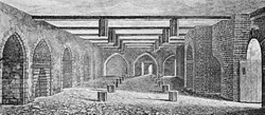 The undercroft of the Palace of Westminster - the first house of Parliament, where Fawkes and the gunpowder was found