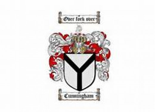 """Coat of Arms for the Cunningham Family, featuring the words """"Over  Fork Over"""""""