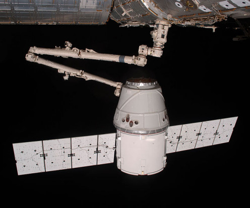 SpaceX Dragon Docked at the ISS.