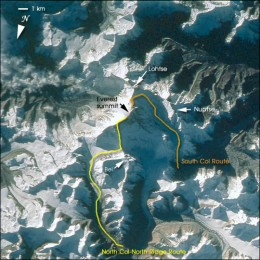 NASA photograph STS058-101-12 with overlay showing climbing routes