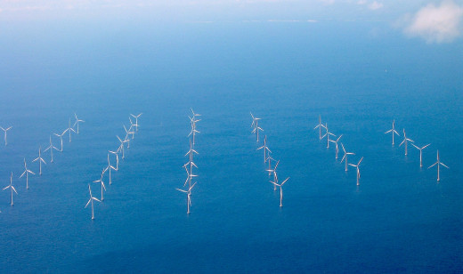 A off-shore wind farm not far from Copenhagen.