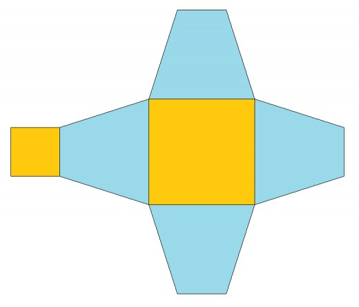 Folding pattern for a truncated pyramid. Created by the author of this article and released to the public domain.