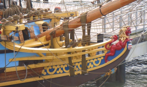 Close-up of Kalmar Nyckel. Note the detailed authentic features and the intricate rope and pulley system.