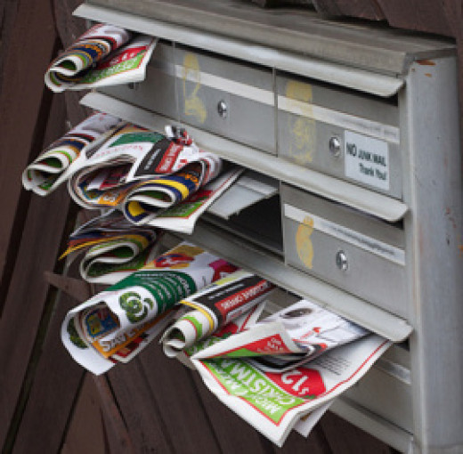 Junk mail is stuffed into mailboxes every day.