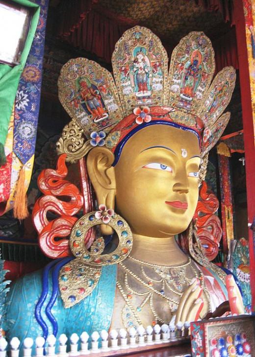 Maitreya Buddha statue in Thikse