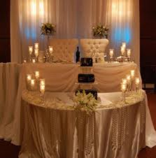 A unique setting for the bride and groom.  A good seating arrangement!