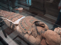Egyptian mummy exhibited at the Louvre Museum in Paris. The Egyptians went to extraordinary lengths to preserve the bodies of their Pharaohs. We try to do the same by embalming.