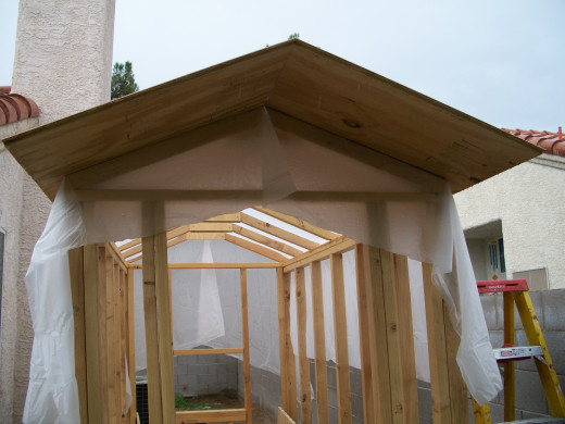 Front view after installation of first two roof sections.