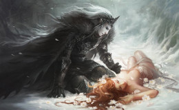 Persephone faints from fright, and Hades takes her to the Underworld