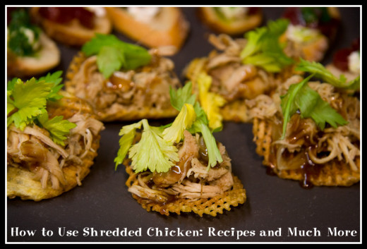 Shredded chicken served on homemade potato chips with a tangy caramel balsamic sauce.
