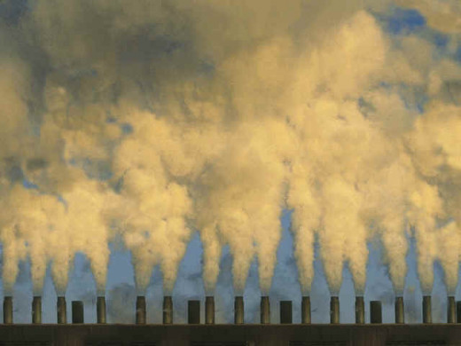 Industry contributes significantly to atmospheric pollution. The principle additives are soot, carbon dioxide and carbon monoxide.