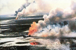 The Kuwait oil well fires from Desert Storm in the first Iraq war of 1991, left a huge impact on the atmosphere that lasted for years afterwards. Locally, the regions under the dense smoke fell to freezing due to lack of sunlight;