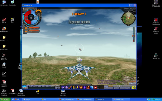 A flight video game played in window mode. You can see the desktop, taskbar and switch between windows easily.