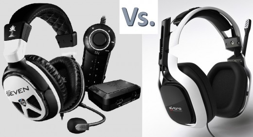 Left: The new Turtle Beach XP Seven Series Professional Gaming headset. Right: The 2013 Astro A40s.