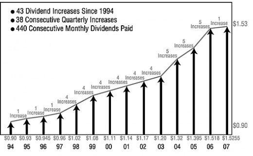 "This is a dividend chart of a company called Realty Income, which shows an increase in dividends every year from 1994 to 2007. This is why the company calls themselves ""the monthly dividend company."""