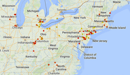 UFO hotspot activity during 8/17/13 through 8/28/13 (created using the map utility at sightingsreport.com).