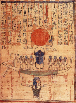 Nun, god of the waters of chaos, lifts the barque of the sun god Ra (represented by both the scarab and the sun disk) into the sky at the beginning of time.