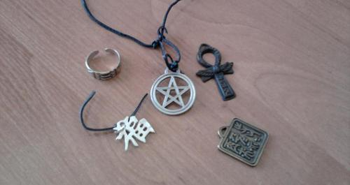 Few examples of protective amulets - tools for magical protection.