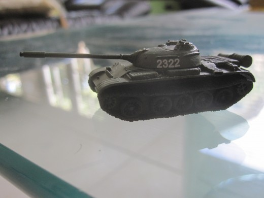 This is a miniature T-55 tank. the T-55 tank was the main battle tank of the North Vietnamese Army during the Easter Offensive.