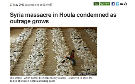 Photo that was taken in 2003 Iraq, was used by BBC to portray the Houla massacre in 2012