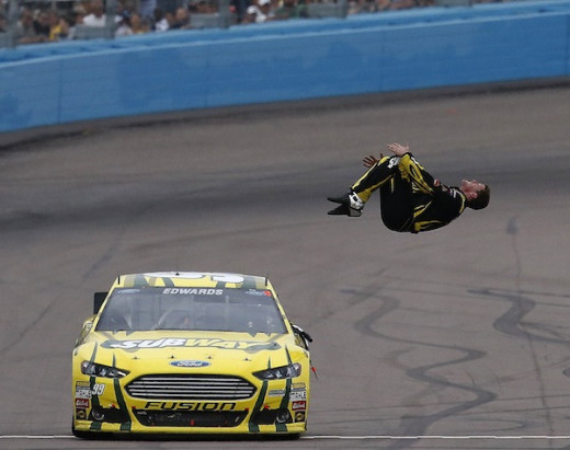 Edwards has already done a pair of victory back flips this season. What would he do for a championship?
