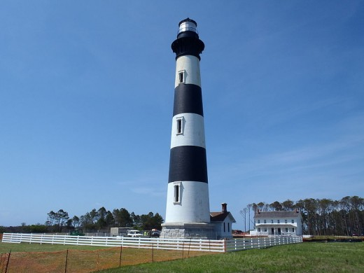 Bodie Island Lighthouse buily in 1848, and rebuilt in 1859 and 1872