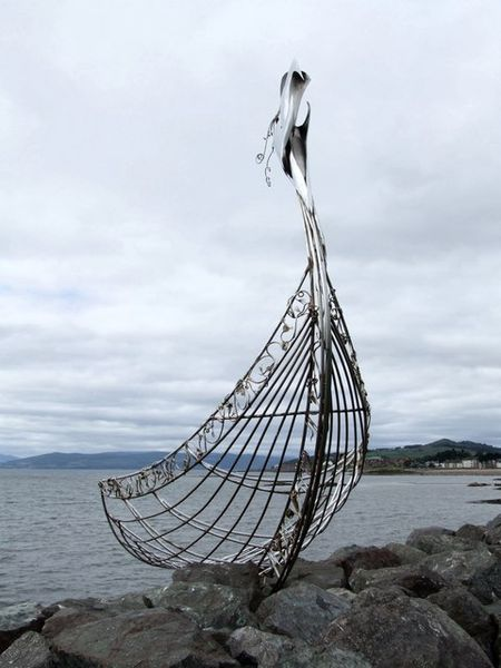 A sculpture of a Viking Longship at Largs. Set up as memorial to the Vikings and their culture that landed on Scotland's shores.