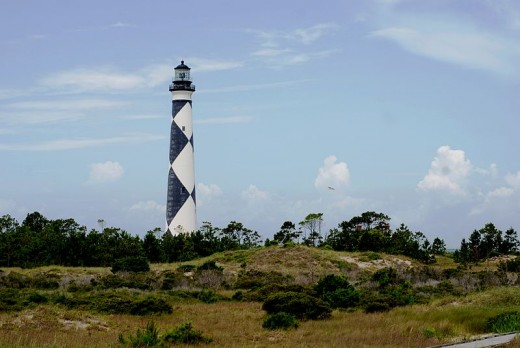 The Cape Lookout lighthouse