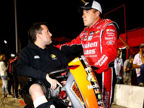 A dejected Tony Stewart and Ryan Newman consider their last 10 weeks together